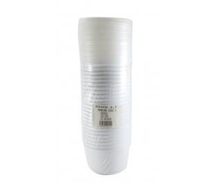 TARRINA PLASTICA REDONDA C/TAPA ESXCO 250 CC. 25 UN.