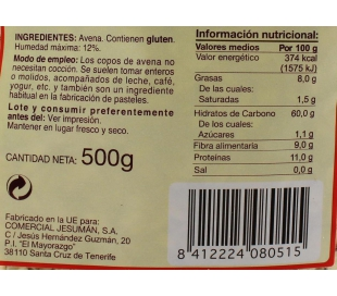 CEREALES COPOS AVENA TAMARINDO 500 GR.