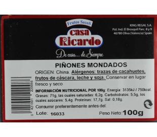 PIÑONES MONDADOS CASA RICARDO 100 GR.