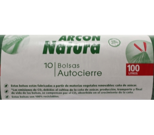 BOLSA BASURA AUTOCIERRE ARCON NATURA 10 UN.