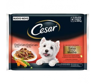 COMIDA PERRO POUCH SELECCI. SALSA CESAR PACK 4X100 GRS.