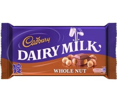 CHOCOLATE WHOLE NUT CADBURY 120 GR.