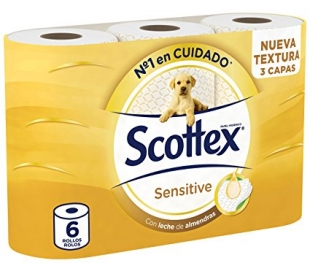 PAPEL HIGIENICO SENSITIVE SCOTTEX 6 UDS.