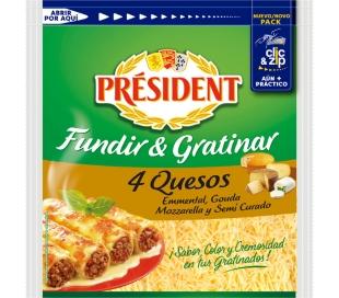 QUESO RALLADO 4 QUESO,FUNDIR-GRATI PRESIDENT 150 GRS.