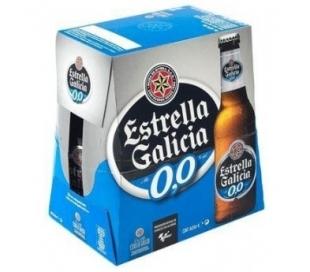 CERVEZA SIN ALCOHOL 0,0 BOTELLA ESTRELLA GALICIA PACK 6X250 ML.
