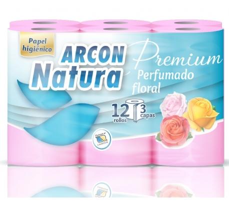 PAPEL HIGIENICO FLORAL PERFUMADO 3 CAPAS ARCON NATURA 12 ROLLOS