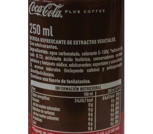 REFRESCO PLUS COFFEE SIN AZUCAR COCA COLA 250 ML.