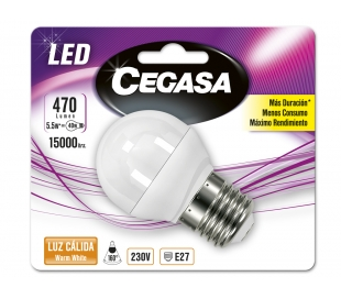 BOMBILLO LED ESFERICA 5,4W.E27 CALIDA CEGASA 1U