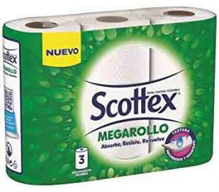 ROLLOS DE COCINA MEGAROLLO SCOTTEX 3 ROLLOS