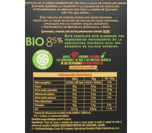 CHOCOLATE BIO 85 % NEGRO SUCHARD 90 GRS.