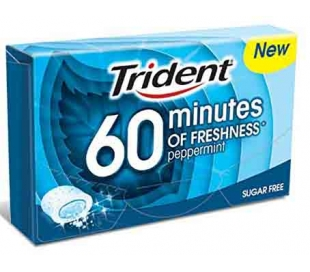CHICLES 60 MINUTOS MENTA TRIDENT 20 GRS.