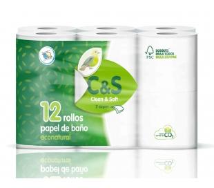 PAPEL HIGIENICO ECOLOGICO CLEAN&SOFT 12 ROLLOS