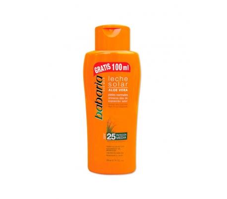 leche-solar-aloe-vera-25-proteccion-media-babaria-200-ml-100-ml-gratis