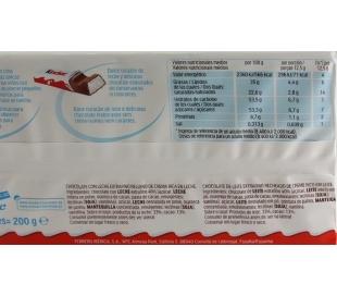 BARRITAS RELLENAS CHOCOLATE KINDER 200 GR.