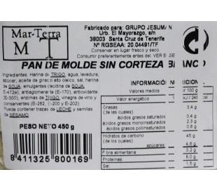 PAN DE MOLDE S/CORTEZA BLANCO MT 450 GR.