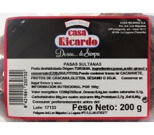 PASAS SULTANAS TARRINA CASA RICARDO 200 GR.