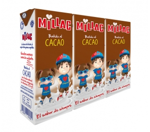 BATIDOS DE LECHE CACAO MILLAC PACK 3X200 ML.
