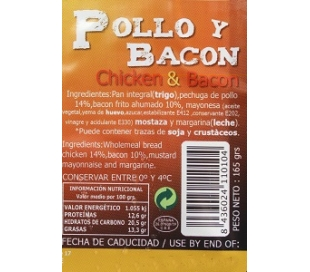 SANDWICH POLLO BACON 180+