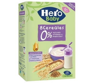 PAPILLA 8 CEREALES, 0% AZUCARES HERO 340 GRS.