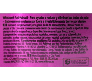 COMIDA GATOS ANTI-HAIRBALL WHISKAS 50 GR.