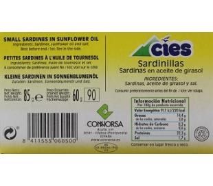 SARDINILLAS ACEITE GIRASOL CIES 85 GR.