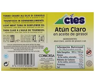 ATUN CLARO ACEITE GIRASOL CIES 143 GR.