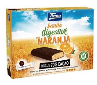 GALLETAS BARRITAS DIGESTIVE C/NARANJA,70% CACAO TIRMA 108 GRS.