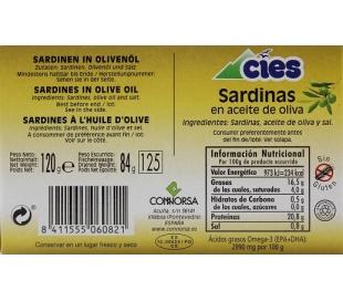 SARDINAS EN ACEITE DE OLIVA CIES 120 GRS.