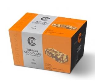 TURRON CHOCOLATE CON ALMENDRAS, CASTILLO DE JIJONA 200 GRS. PORCIONES