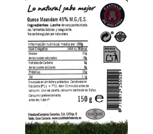 QUESO MAASDAM LONCHA EL CASTILLO 150 GRS.