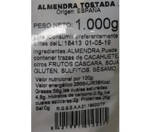 FRUTOS SECOS ALMENDRA TOSTADA SIN SAL CASA RICARDO 1000 GRS.