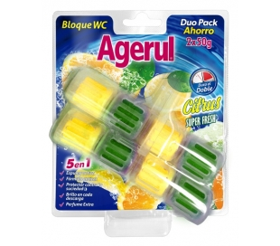DESINFECTANTE WC CITRUS SUPER FRESH AGERUL PACK 2X50 GRS.