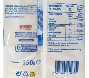 PAN DE LECHE BIMBO 350 GRS. 10 UDS.