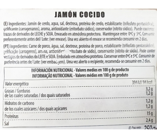 JAMON COCIDO, LONCHAS CASADEMONT 250 GRS.