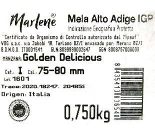 FRUTERIA MANZANA GOLDEN 75/80 MARLENE 750 GRS.