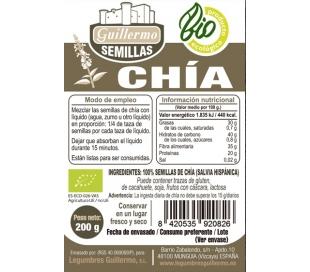 SEMILLAS DE CHIA, BIO - ECOLOGICA GUILLERMO 200 GRS.