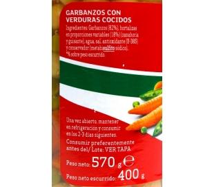 GARBANZOS CON VERDURAS LUENGO FRASCO 400 GR.