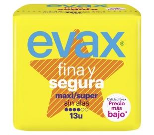 COMPRESAS FINA Y SEGURA MAXI/SUPER EVAX 13 UDS.