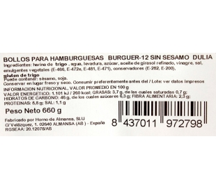 PAN HAMBURGUESAS HORNO DE ALMANSA PACK 12X55 GRS.